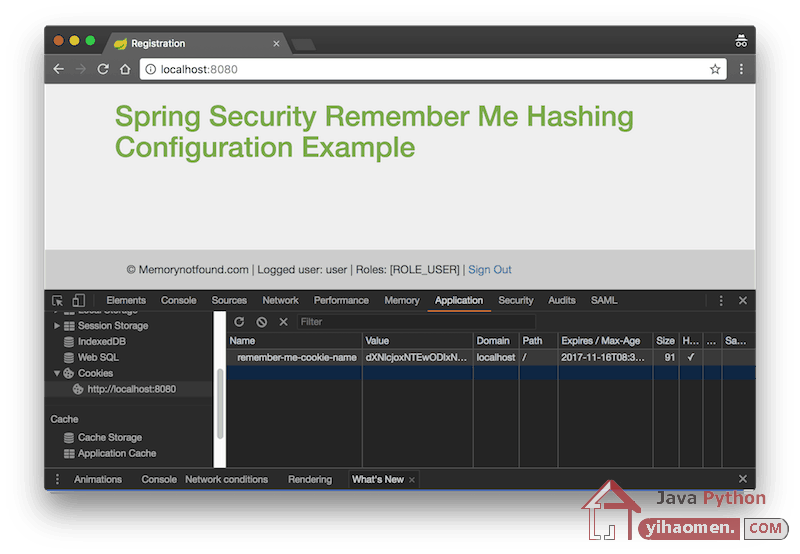 Spring Security Remember Me Hashing Authentication Example